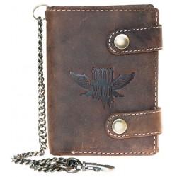 Kožená peněženka s křídlem, se dvěma upínkami a 35 cm dlouhým kovovým řetězem a karabinkou