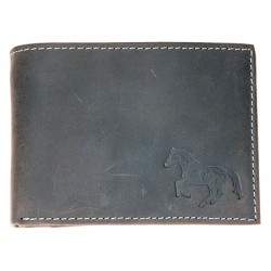 Kožená šedá peněženka z pevné hovězí kůže s koněm