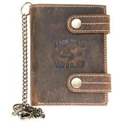 Kožená peněženka se škorpionem, se dvěma upínkami a 35 cm dlouhým kovovým řetězem a karabinkou
