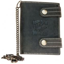 Kožená tmavě šedá peněženka Born to be wild se škorpionem, se dvěma upínkami a 30 cm dlouhým kovovým řetězem a karabinkou