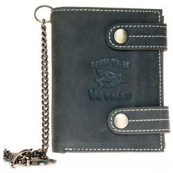 Kožená tmavě šedá peněženka Born to be wild se žralokem, se dvěma upínkami a 30 cm dlouhým kovovým řetězem a karabinkou