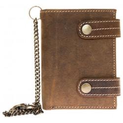 Kožená peněženka se dvěma upínkami a 35 cm dlouhým kovovým řetězem a karabinkou