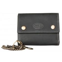 Celá kožená velmi tmavě šedá peněženka Wild z pevné přírodní kůže s 45 cm dlouhým řetězem a karabinkou