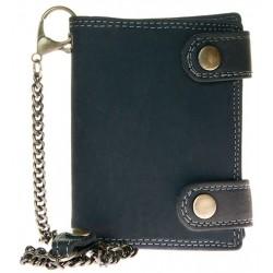 Kožená peněženka s 45 cm dlouhým kovovým řetězem a poutkem na patentek