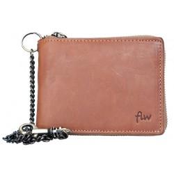 Celá kožená peněženka dokola na kovový zip s 45 cm dlouhým řetězem