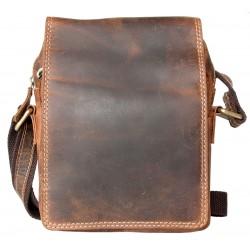 Pánská taška z pevné kůže s popruhem přes rameno bez značek a nápisů