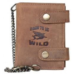 Kožená peněženka se žralokem, se dvěma upínkami a 35 cm dlouhým kovovým řetězem a karabinkou