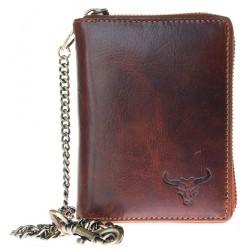 Pánská celokožená motorkářská peněženka s býčí hlavou dokola na kovový zip a 50 cm dlouhým kovovým řetězem a ka