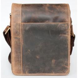 Malá pánská taška z pevné kůže s popruhem přes rameno bez značek a nápisů