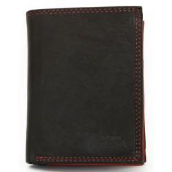 Černo-červená celá kožená pánská peněženka