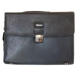 Velká černá kožená pánská taška Pedro z pevné kůže s popruhem přes rameno na cesty i do práce