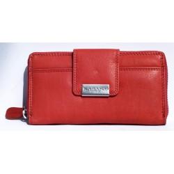Červená kožená peněženka celá na zip s čirou síťkovou přihrádkou uvnitř