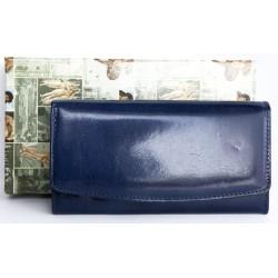 Modrá klasická peněženka z pevné leskle lakované pravé kůže
