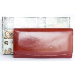 Červená klasická peněženka z pevné leskle lakované pravé kůže