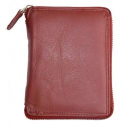 Dámská tmavě červená kožená peněženka celá dokola na zip