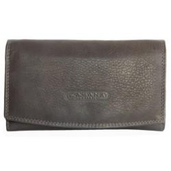 Tmavě hnědá kožená peněženka orientovaná jako oboustranná