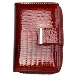 Kožená fóliovaná červená peněženka s mincokapsičkou na kovový zip
