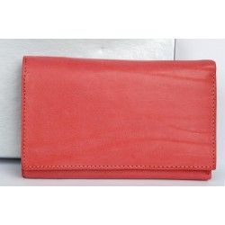 Jasně oranžovorůžová italská kožená peněženka