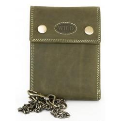 Celokožená zelená peněženka Wild s 45 cm dlouhým řetězem a karabinkou