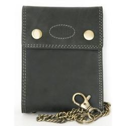 Celokožená tmavě šedá peněženka Wild s 45 cm dlouhým řetězem a karabinkou