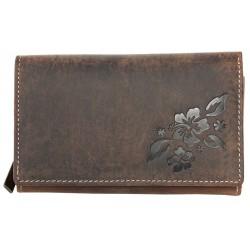 Kožená peněženka z pevné přírodní kůže s částečnou ražbou s květinovým vzorem