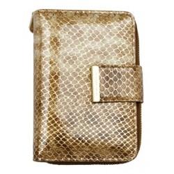 Kožená fóliovaná peněženka se vzorem leopardí kůže s mincokapsičkou na kovový zip