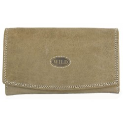 Celá kožená světle šedozelená peněženka Wild ze silné přírodní kůže