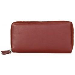 Dvojzipová tmavě červená kvalitní kožená peněženka HMT