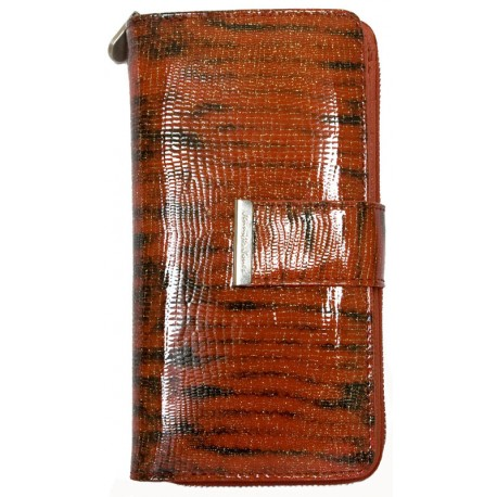Luxusní červená kožená fóliovaná peněženka Jennifer Jones