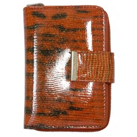Červená kvalitní fóliovaná kožená peněženka Jennifer Jones s leopardím vzorem