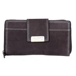 Tmavě hnědá kožená peněženka celá na zip s čirou síťkovou přihrádkou uvnitř