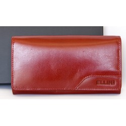 Červená peněženka Ellini z pevné kůže dodávaná v krabičce