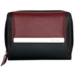 Černo-vínová kvalitní kožená peněženka