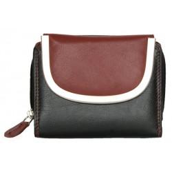 Černo- tmavě červená kožená kompaktní peněženka