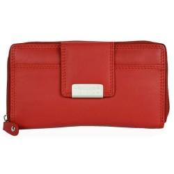 Červená kožená peněženka z měkké příjemné kůže se zapínáním na zip