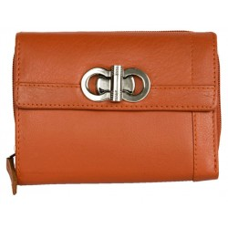 Oranžová kvalitní kožená peněženka HMT