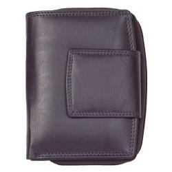 Fialová dámská kožená peněženka bez značek a nápisů