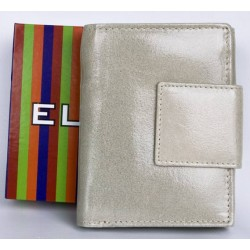 Kožená béžová, leskle fóliovaná peněženka Ellini