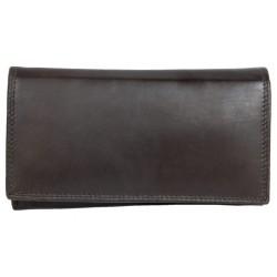 Tmavě hnědá klasická kvalitní kožená peněženka HMT