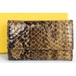 Luxusní peněženka z hovězí kůže s povrchovou úpravou jako hadí