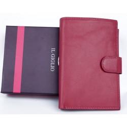 Velká růžová peněženka z měkké kvalitní kůže s vyjímatelným pouzdrem na cestovní pas