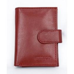 Kožené červené pouzdro na 12 platebních a jiných karet a bankovky