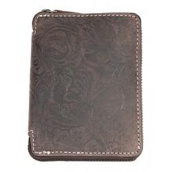 Dámská peněženka z přírodní kůže na kovový zip s ornamentální květinovou ražbou