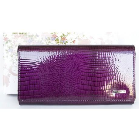 Fialová kožená fóliovaná odolná peněženka Ellini