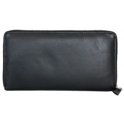 Černá velmi kvalitní peněženka celá na zip z měkké kůže s nappa úpravou