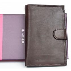 Velká tmavě hnědá peněženka z měkké kvalitní kůže s vyjímatelným pouzdrem na cestovní pas