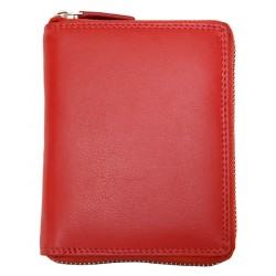 Červená kožená peněženka celá dokola na zip