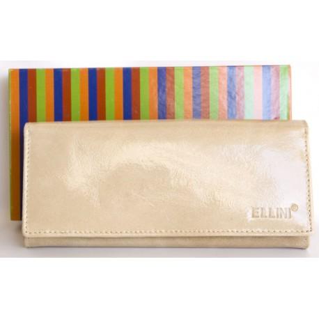Béžová kožená fóliovaná odolná peněženka Ellini