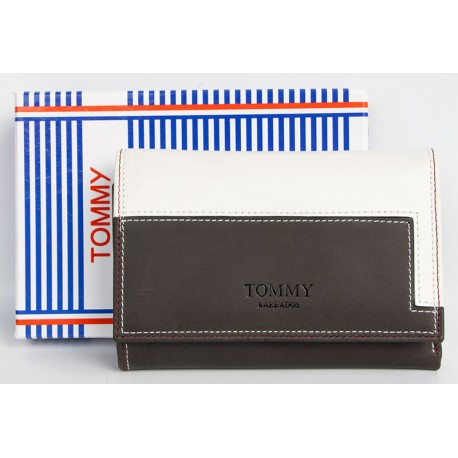 Bílo-hnědá kožená peněženka Tommy Barbados