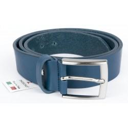 Modrý italský kožený opasek. Šířka 38 mm, délka 125 cm